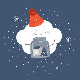 Nuvola del bambino del fumetto con il barattolo dei fiocchi di neve e degli alberi di natale.