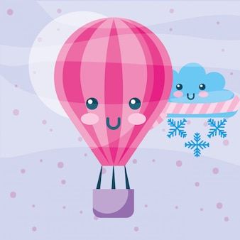 Nuvola di inverno dell'aerostato di aria calda di kawaii con il fumetto del fiocco di neve della sciarpa
