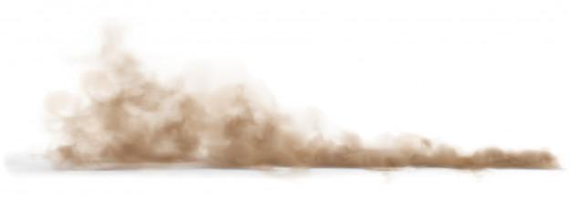 Nuvola di sabbia polverosa su una strada polverosa da un'automobile.