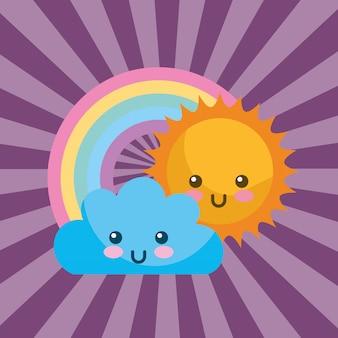 Nuvola di sole kawaii carino e cartoon arcobaleno tondo