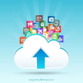 Nuvola icone di upload