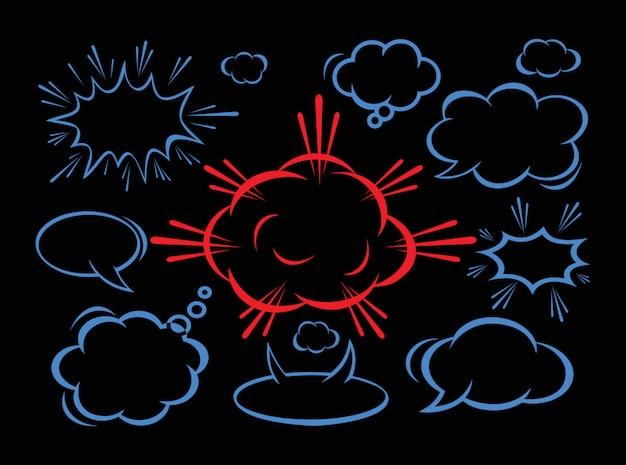 Nuvola vuota di dialogo comico, testo dello spazio su fondo nero