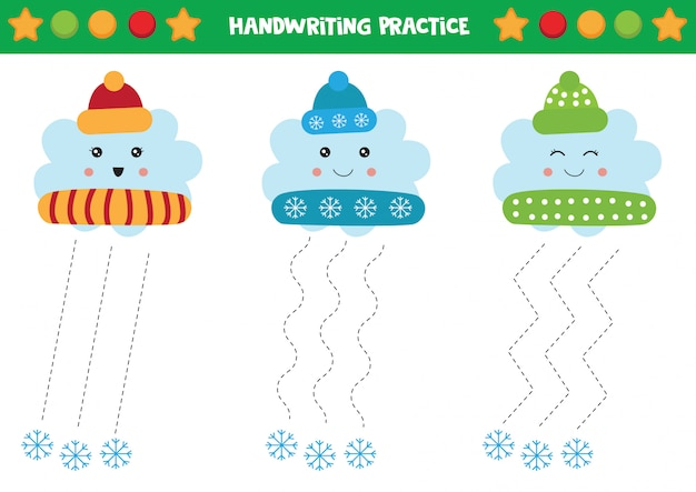 Nuvole carine in berretti invernali. pratica della scrittura a mano per bambini.