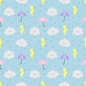 Nuvole colorate modello senza soluzione di continuità, ombrello, pioggia e fulmini sul blu