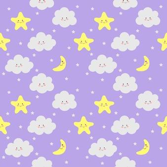 Nuvole colorate seamless pattern, luna e stelle su viola