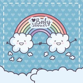 Nuvole del fumetto della doccia di bambino che si tengono per mano autoadesivo dell'arcobaleno