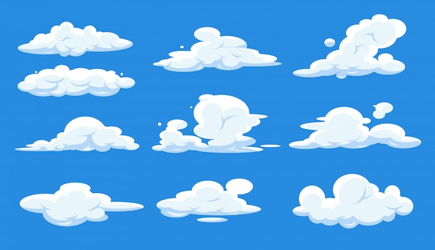 Nuvole del fumetto messe isolate su cielo blu