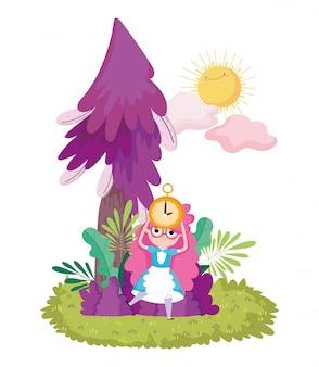 Nuvole del sole del fogliame dell'albero dell'albero della tenuta della ragazza nel paese delle meraviglie