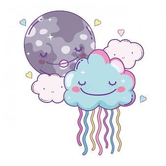 Nuvole e luna cartoons carini