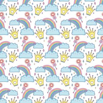 Nuvole e personaggi arcobaleno kawaii