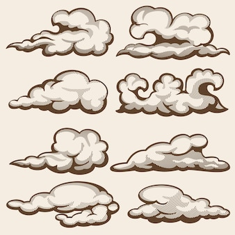 Nuvole incisione d'epoca. set disegnato a mano