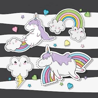 Nuvole kawaii con arcobaleno e tuono con unicorno