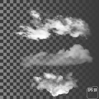 Nuvole realistiche su uno sfondo trasparente