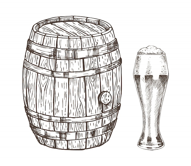 Oak container e glass of frothy ale graphic art