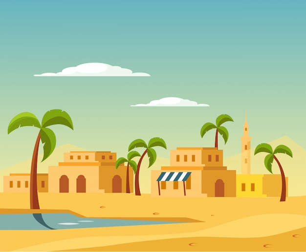 Oasi con la città nel deserto