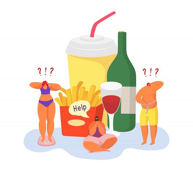 Obesità e persone grasse con problemi di peso eccessivo e illustrazione malsana dell'alimento isolata su bianco.