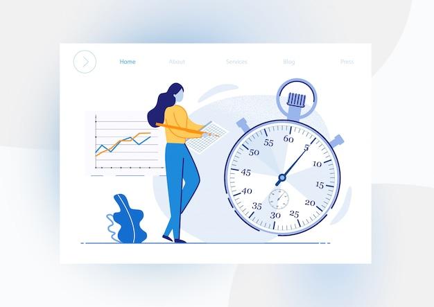 Obiettivi di realizzazione di volantini informativi con cronometro. la ragazza registra i record di cronometraggio sulla tabella delle correzioni e del cronometro. tempo di indicazione chiaro assegnato agli obiettivi di implementazione. illustrazione.