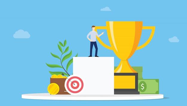 Obiettivi elevati: concetto di obiettivo personale con persone e risultati e dardo con grande trofeo