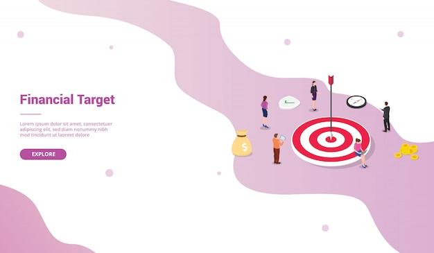 Obiettivi finanziari target per modello di sito web o homepage di atterraggio con stile isometrico