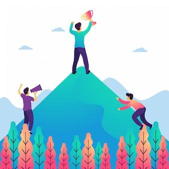 Obiettivo aziendale e realizzazione illustrazione vettoriale