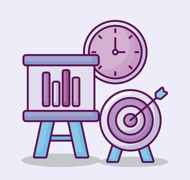 Obiettivo con icone di affari e del cartone