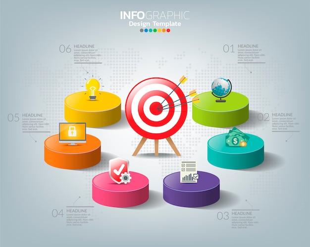 Obiettivo con icone e quattro opzioni con numeri e testo, modello di infografica.
