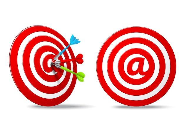Obiettivo dei media sociali rosso dardi obiettivo