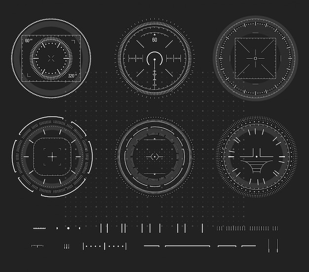Obiettivo del cecchino, display del dispositivo intelligente digitale, infografica hud, elemento di design. poligono di tiro, mira, collezione di icone di destinazione.