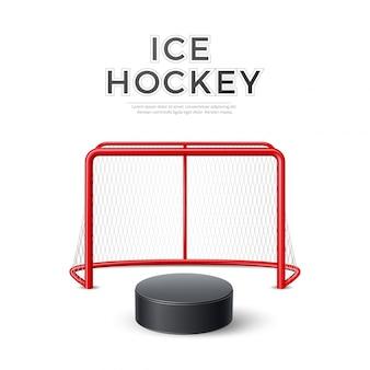 Obiettivo del hockey su ghiaccio di vettore con il disco netto 3d
