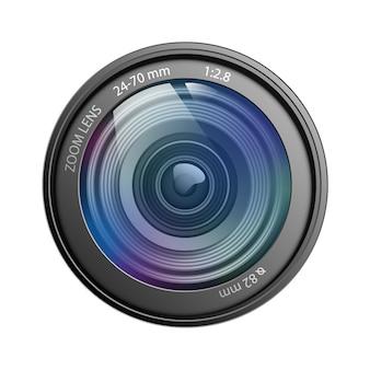 Obiettivo di macchina fotografica isolato sull'illustrazione bianca di vettore del fondo