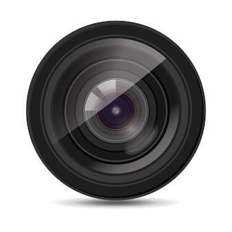 Obiettivo fotocamera su bianco