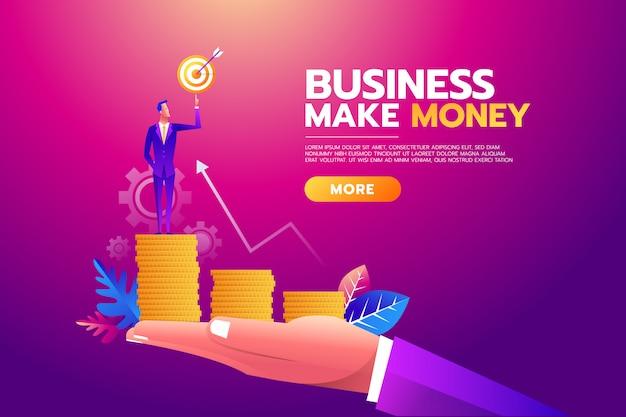 Obiettivo obiettivo della holding dell'uomo d'affari, valigetta piena di soldi, tutti gli obiettivi raggiunti.