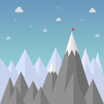 Obiettivo per il successo. bandiera rossa sulla cima del picco di montagna