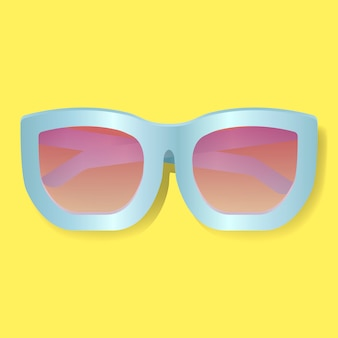 Obiettivo rosa con l'illustrazione blu di vettore degli occhiali da sole della struttura