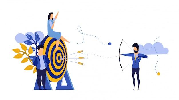 Obiettivo strategia di lavoro di squadra con arco freccia.