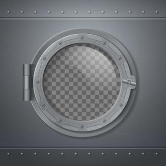 Oblò in metallo grigio realistico e composizione con finestra trasparente astratta
