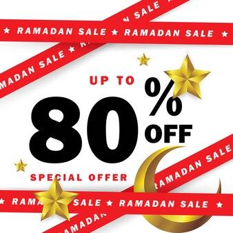 Occasione di banner del ramadan con nastri