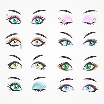 Occhi di primo piano di belle donne. occhi di femmine