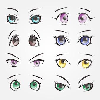 Occhi femminili dei cartoni animati. occhi di primo piano di belle donne