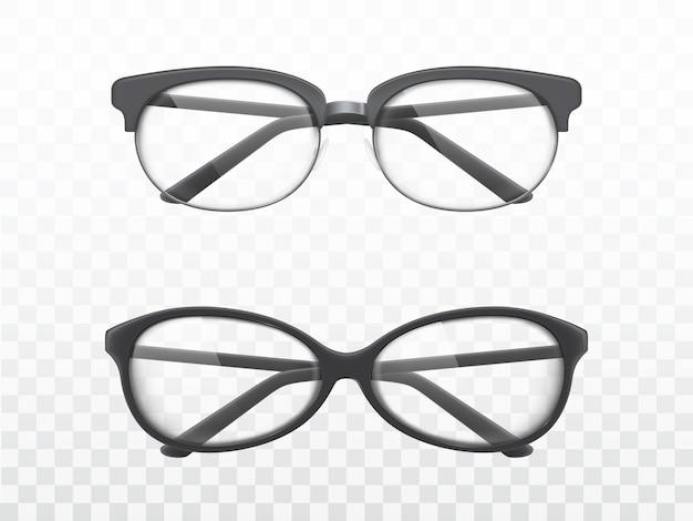 Occhiali con cornici nere vettori realistici