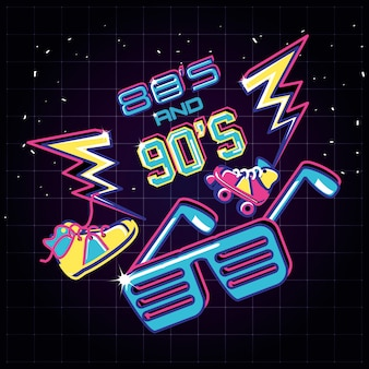 Occhiali da festa con icone degli anni ottanta e novanta retrò