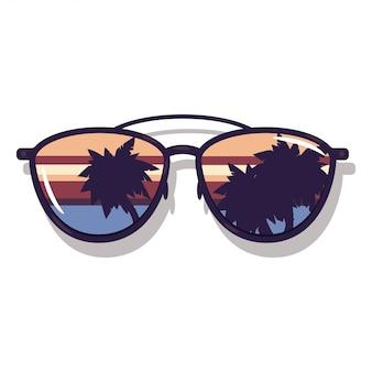 Occhiali da sole con la riflessione dell'oceano e della palma. illustrazione di concetto di estate del fumetto isolata su fondo bianco.