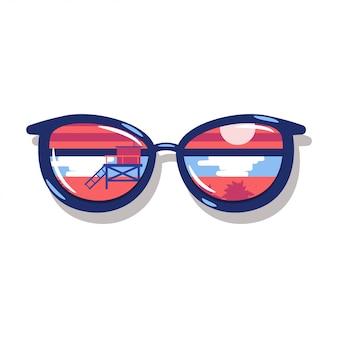 Occhiali da sole con riflesso sulla spiaggia. illustrazione di concetto di estate del fumetto di vettore isolata