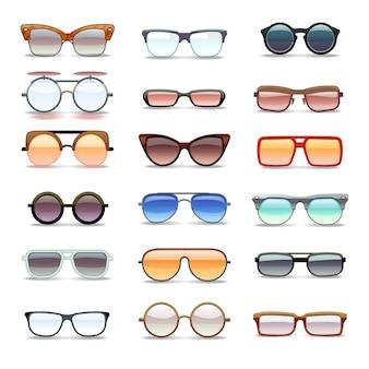 Occhiali da sole estate, icone piatte moda occhiali. collezione di occhiali da sole di moda