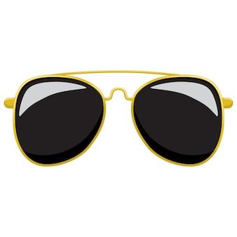 Occhiali da sole in aviatore alla moda con montatura in oro.