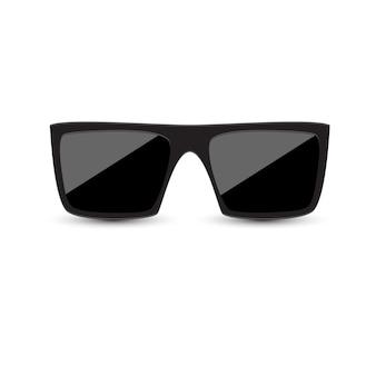 Occhiali da sole neri con vetro scuro su sfondo bianco.