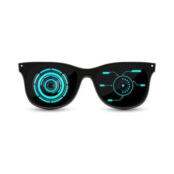 Occhiali da sole neri futuristici hipster con vetro scuro e interfaccia hud.