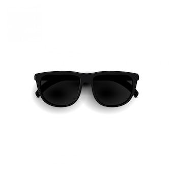 Occhiali da sole neri, vista dall'alto. vetri realistici 3d degli occhiali da sole alla moda isolati su un fondo bianco