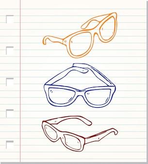Occhiali da sole stile doodle isolati