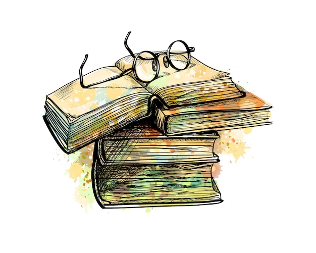 Occhiali da vista sui libri della pila superiore e libro aperto da una spruzzata di acquerello, schizzo disegnato a mano. illustrazione di vernici